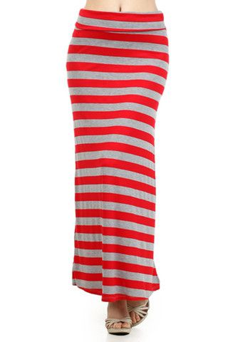 High Waist Fold Over Striped Maxi Skirt (Coral/Grey) – Niobe Clothing