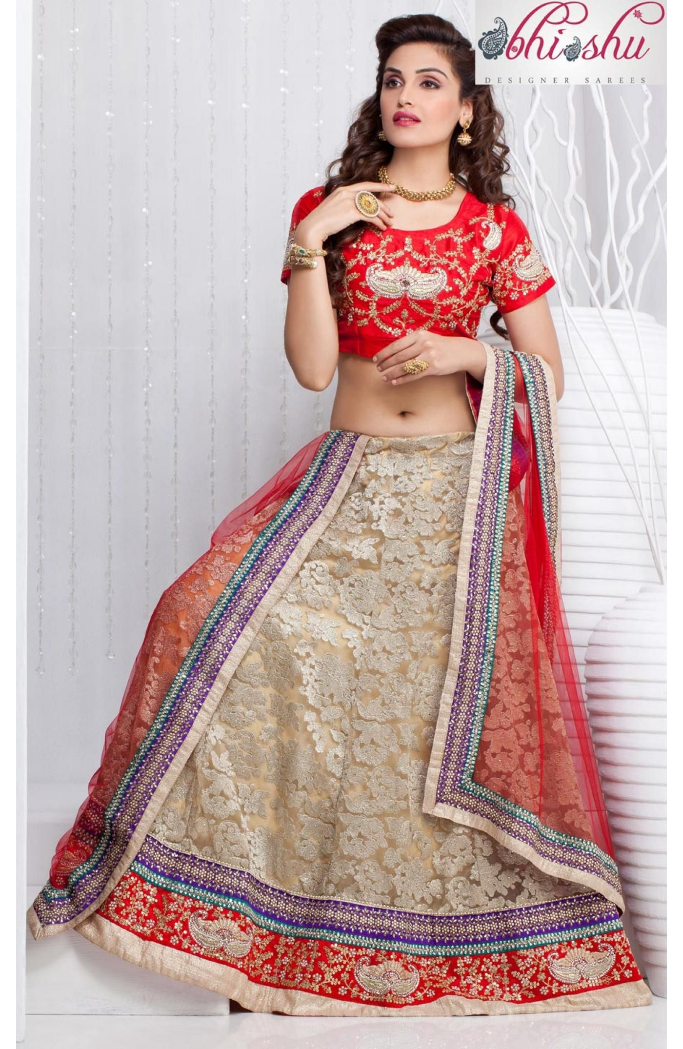 Re define your beauty in this beautiful beige net lehenga .The ...