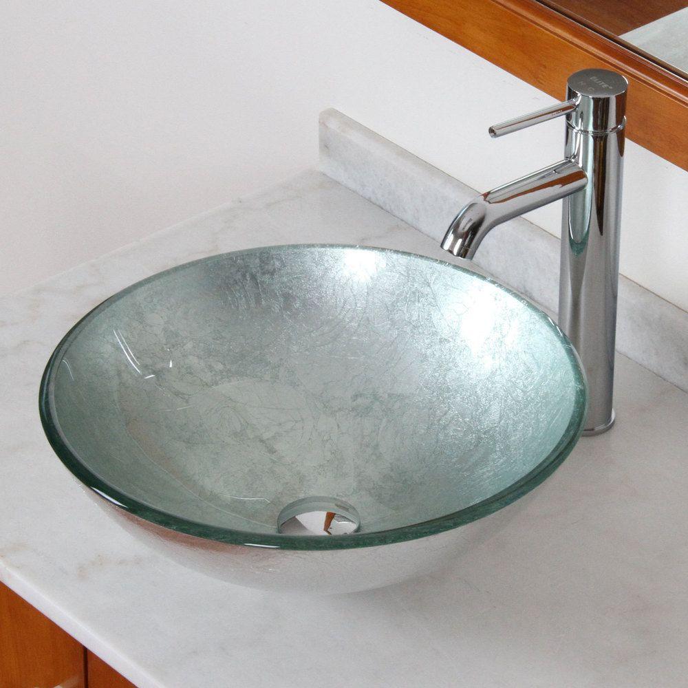 Elite Modern Tempered Silver Wrinkles Glass Bathroom Vessel Sink With Faucet Combo Vessel Sink Bathroom Glass Vessel Sinks Glass Bathroom