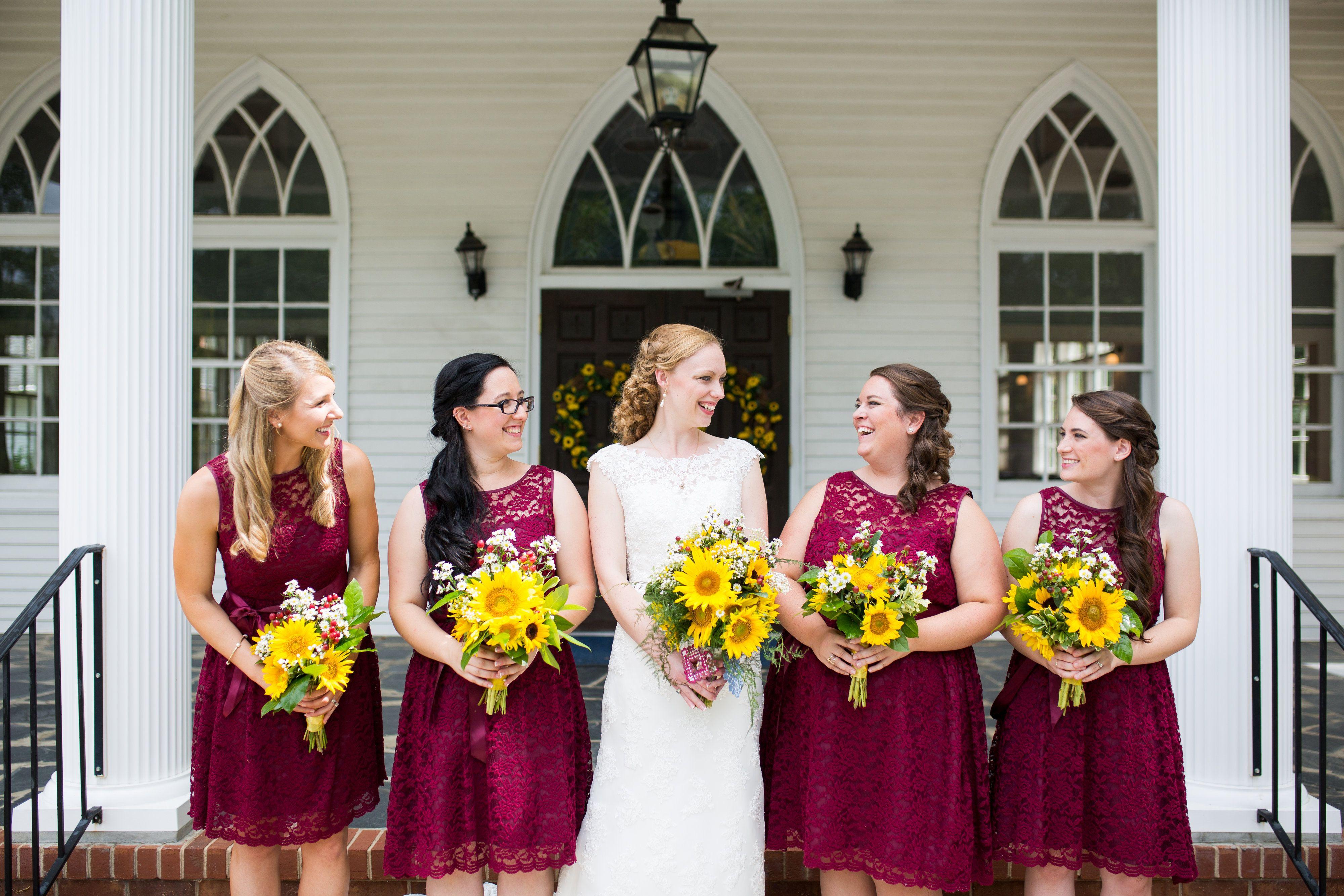 Sunflower wedding bridesmaid dresses choice image braidsmaid burgundy lace bridesmaid dresses with sunflower bouquets autumn burgundy lace bridesmaid dresses with sunflower bouquets autumn ombrellifo Images