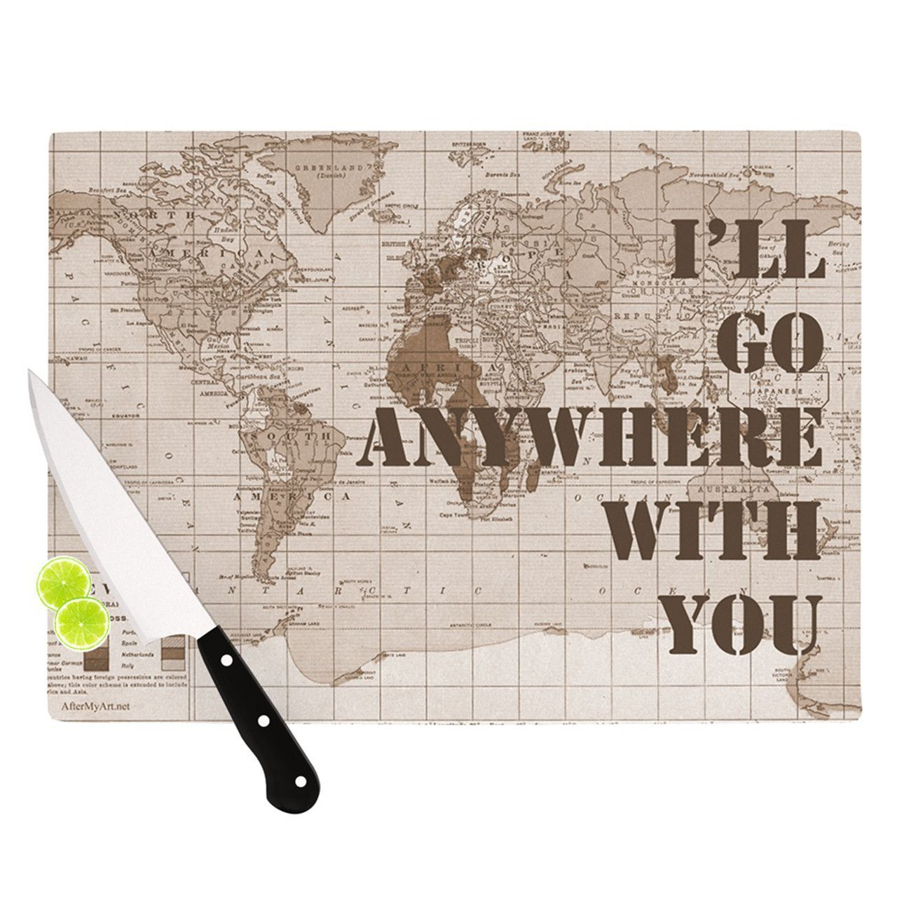 """Catherine Holcombe """"I'll Go Anywhere With You"""" Brown Map Cutting Board"""