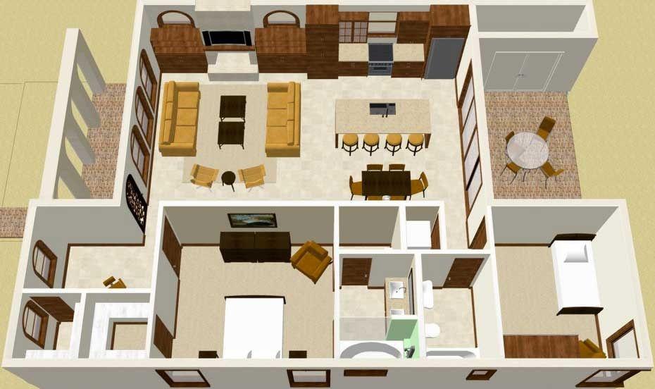 Plano de casa de estilo colonial en 3d planos casas pinterest - Planos de casa en 3d ...