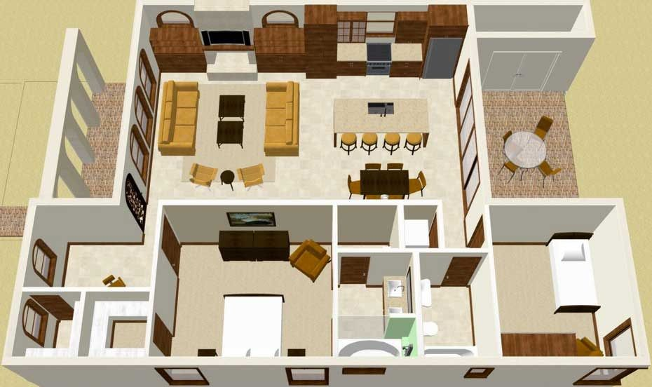 Plano de casa de estilo colonial en 3d planos casas - Planos en 3d de casas ...