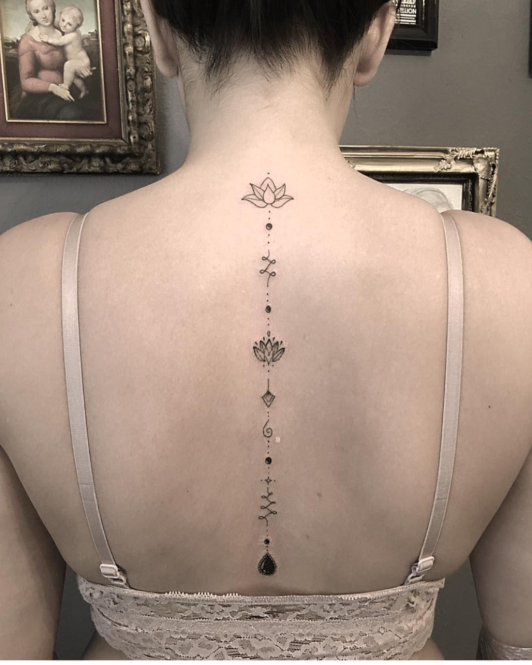 Unalome Jewelry Tattoo Tattoos Lotus Lotustattoo Jewelrytattoo Backtattoo Tattoosforgirls In Spine Tattoos For Women Spine Tattoos Neck Tattoos Women