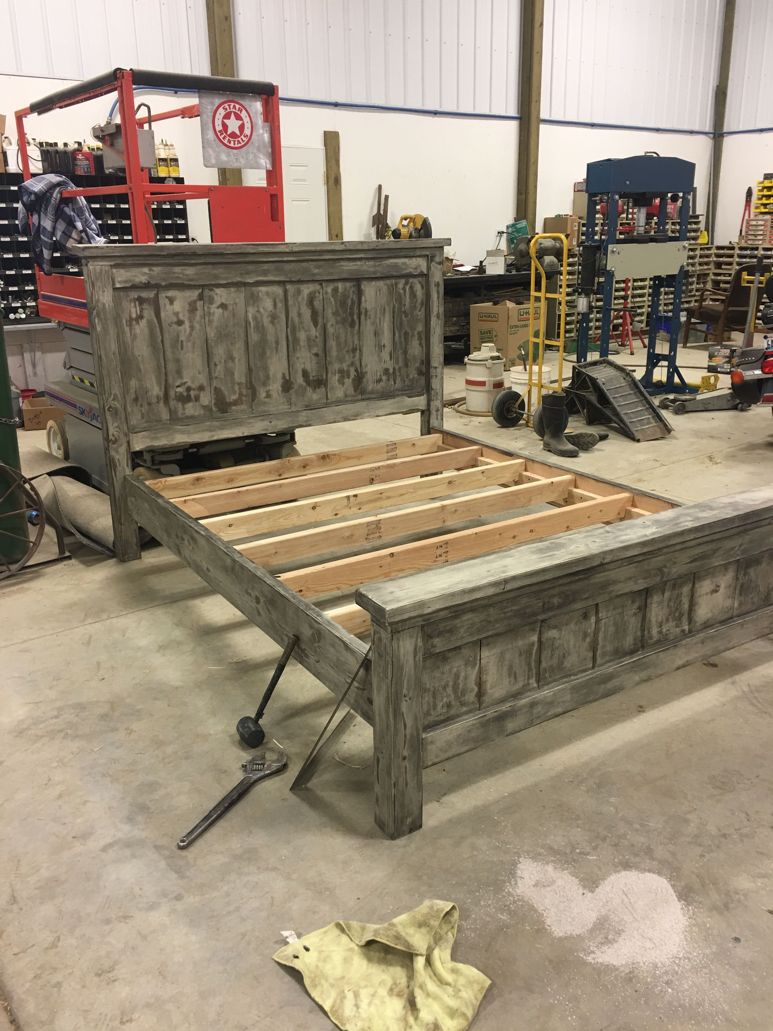 DIY Farmhouse Bed Queen Version Diy bed frame, Rustic