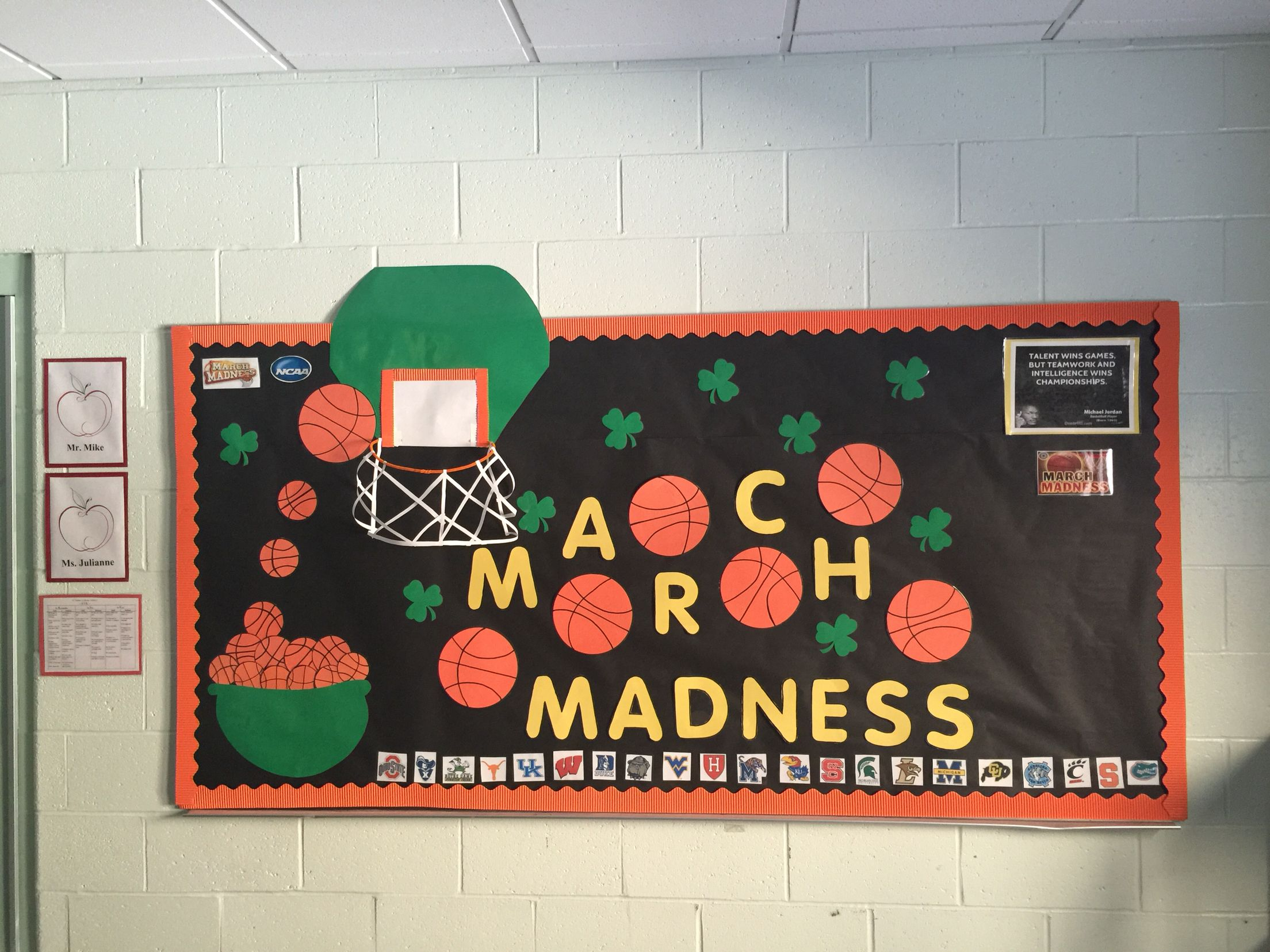 March Madness And St Pattys Day Bulletin Board I Love My Job Classroom Themes Birthday Boards
