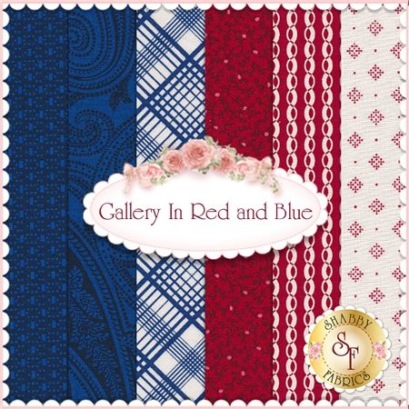 """Gallery In Red 6 FQ Set by Faye Burgos for Marcus Fabrics: Gallery in Red and Blue is a collection by Faye Burgos for Marcus Fabrics. 100% cotton. This set contains 6 fat quarters, each measuring approximately 18"""" x 18"""""""