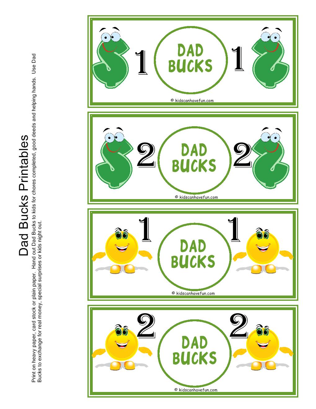 Dad bucks reward money pretend play playtime for Classroom bucks template