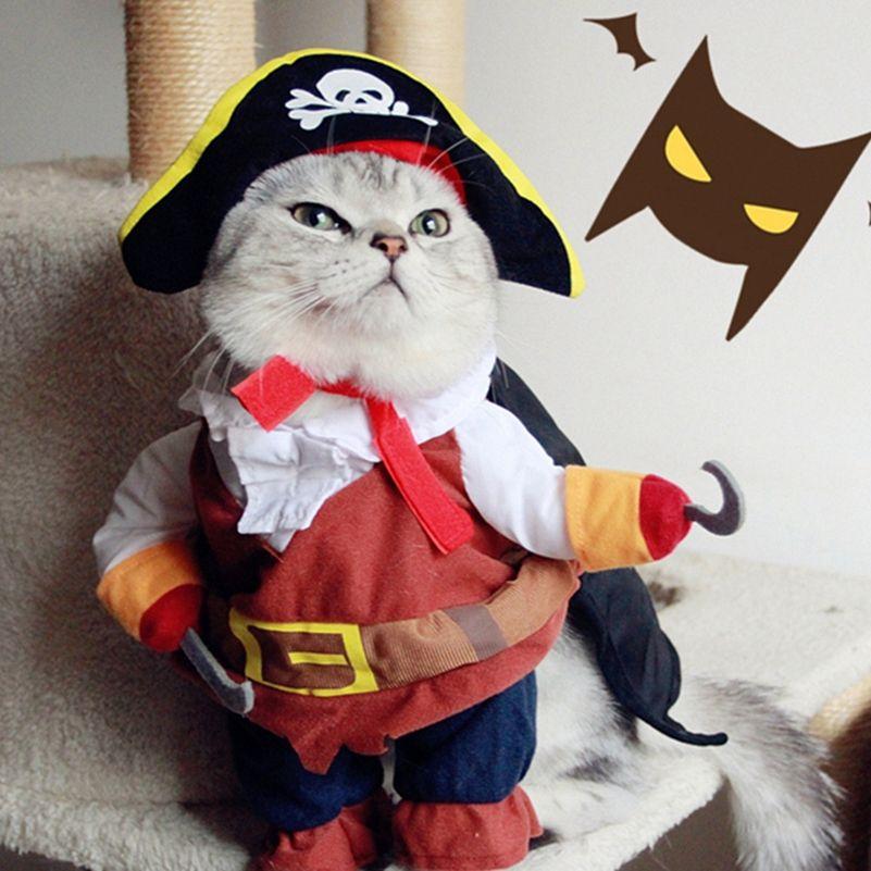 재미 애완 동물 고양이 해적 의상 정장 할로윈 고양이 개 옷 해적 강아지 입기 파티 옷 고양이 플러스 모자 pajams 25