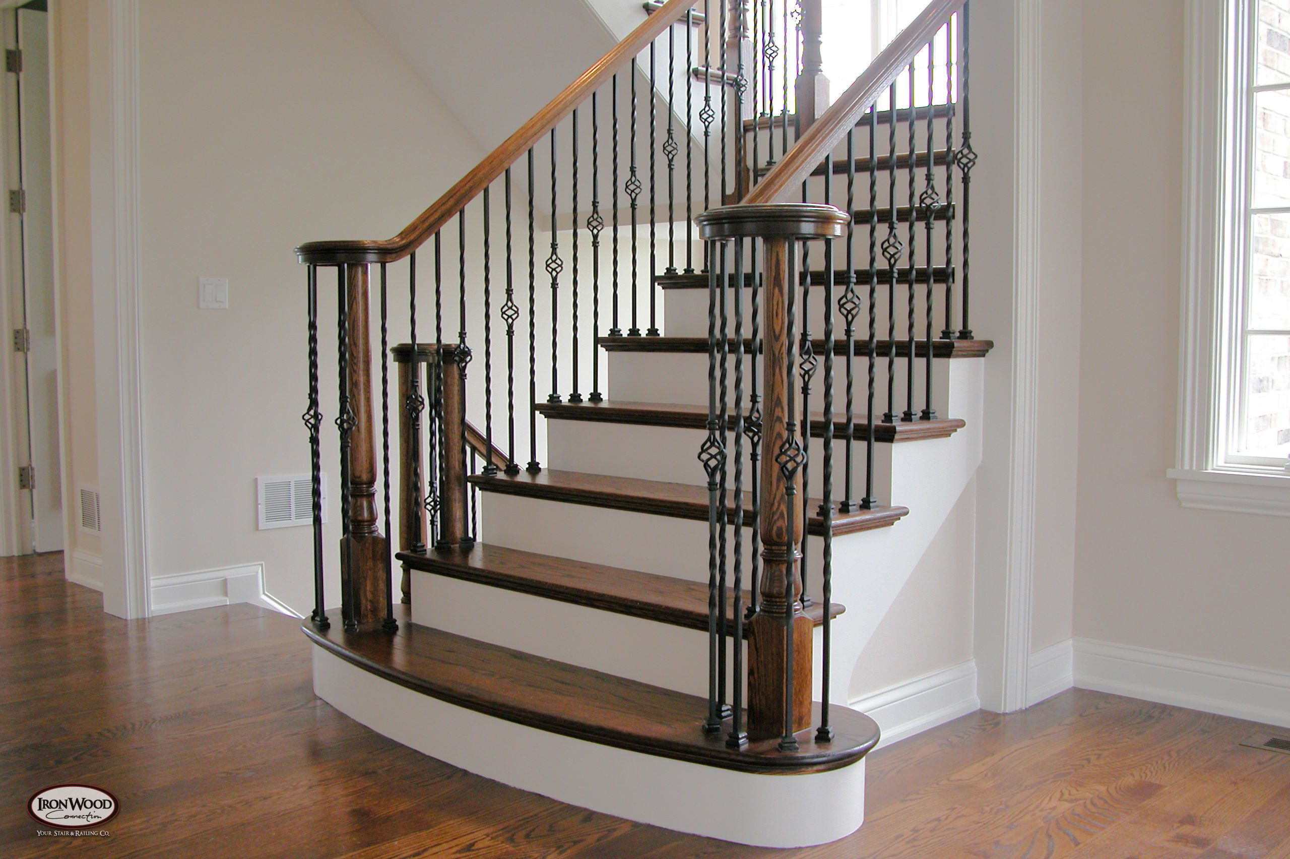 Custom Stair Builder | Stair Remodel Dallas Ft. Worth Mix Of Wood White And  Iron