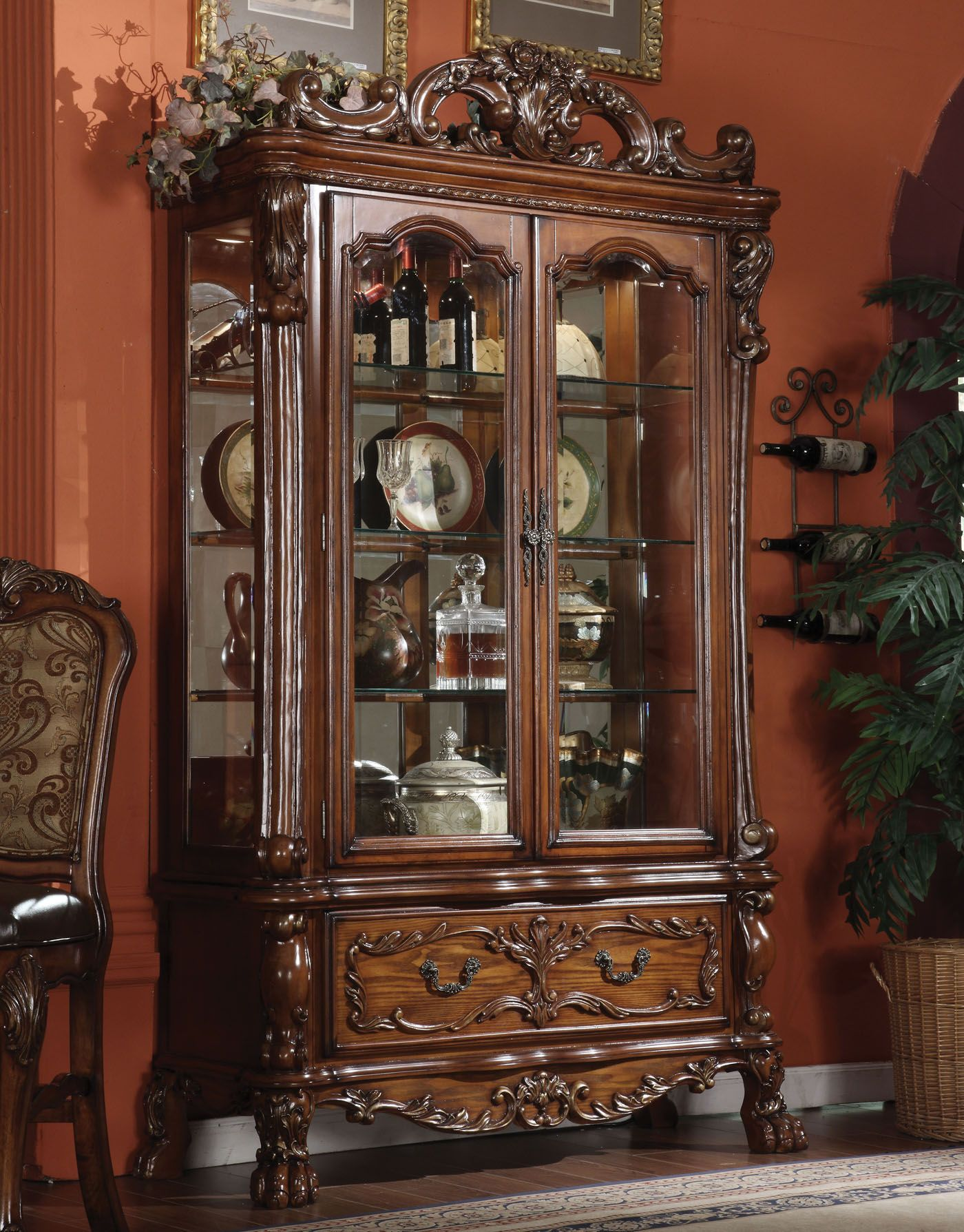 Acme dresden curio in brown cherry oak clearance in