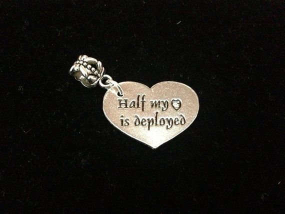 Half My Heart Is Deployed European Charm By Myherocreations 5 00