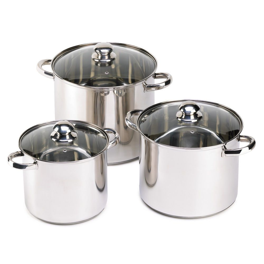 stock pot set 3 stainless steel pan cookware cooking pots and pans glass lids homelocomotion. Black Bedroom Furniture Sets. Home Design Ideas