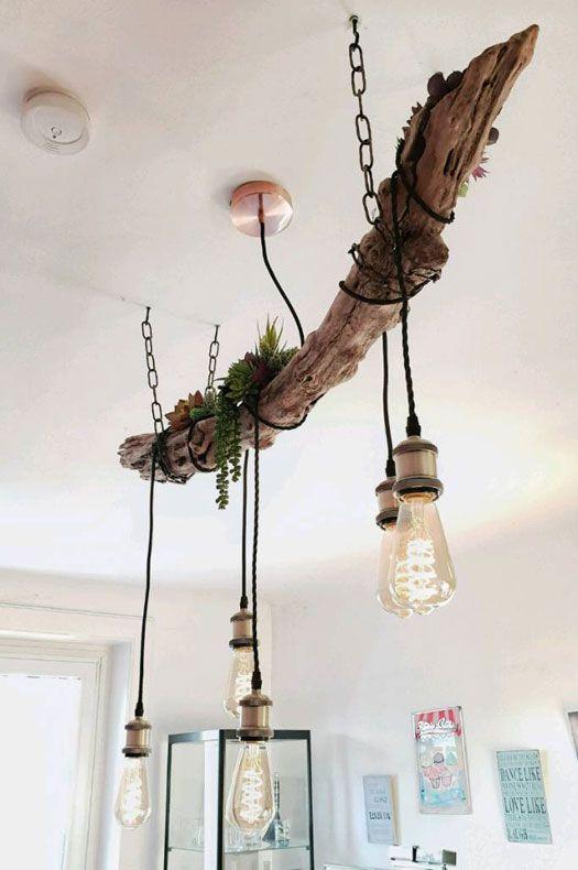 Diy Welche Treibholz Hangelampe Ist Die Schonste Welche Baust Du Treibholzeffekt Treibholz Lampe Holz Hangelampe Kronleuchter Selbst Bauen
