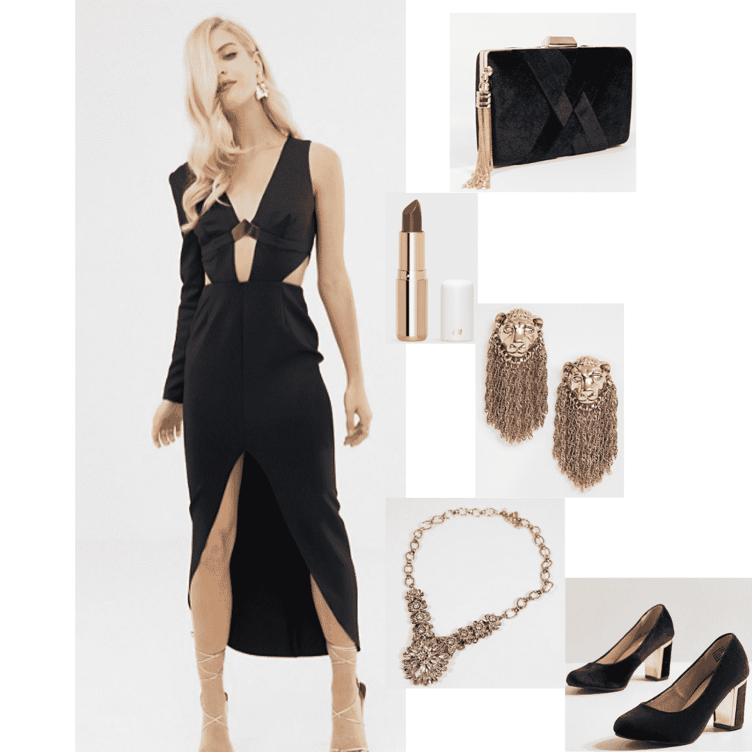 Cersei Lannister Outfit With Black Dress Gold Lion Jewelry Black Heels Fashion College Fashion Outfits [ 1080 x 1080 Pixel ]