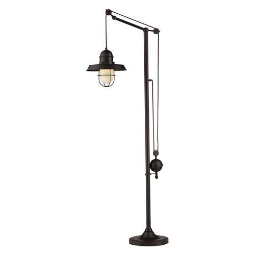 Farmhouse Oiled Bronze Pulley Adjustable Height One Light Floor Lamp Dimond  Shaded