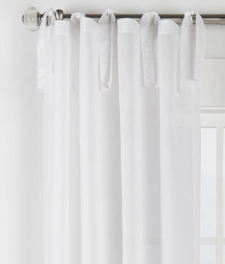 Cotton Voile Tie Tab Top Curtains Pair Final Sale No Returns