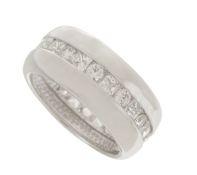 Epiphany platinum clad diamonique channel set eternity wide band