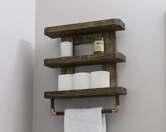 The Art Gallery Reclaimed Wood Copper Rod Double Towel Rack Bathroom Shelf Rustic Home Decor Pallet Furniture Towel Rack NCRusticdesigns