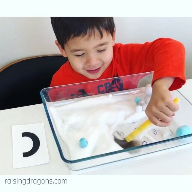 "Raising Dragons on Instagram: ""Finding Letters in the Snow ❄️ ages 3-6 ❄️ Here's a fun, sensory, winter activity to work on letter recognition. Start by writing lowercase…"""