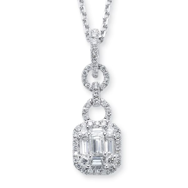Hj Namdar Emerald Cut Round And Baguette Diamond Drop