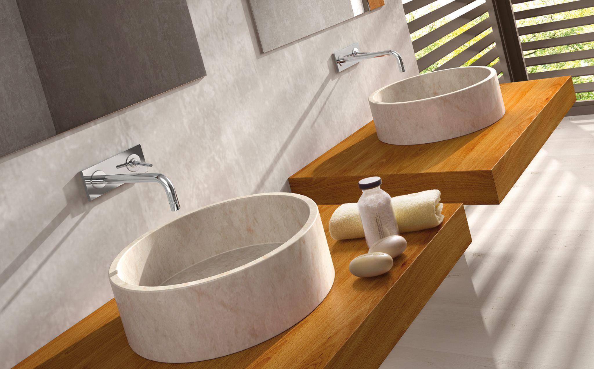 lavabo bali circular de piedra y sobre encimera sin rebosadero y