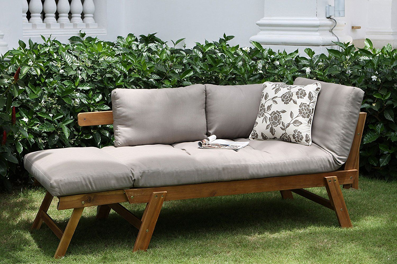 Amazon De Villana Multifunktionsliege Akazienholz Braun 280 X 100 X 20 Cm Akazienholz Chaiselongue Holz