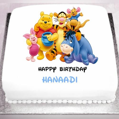 Happy Birthday With Winnie The Pooh Cake With Name Sanad