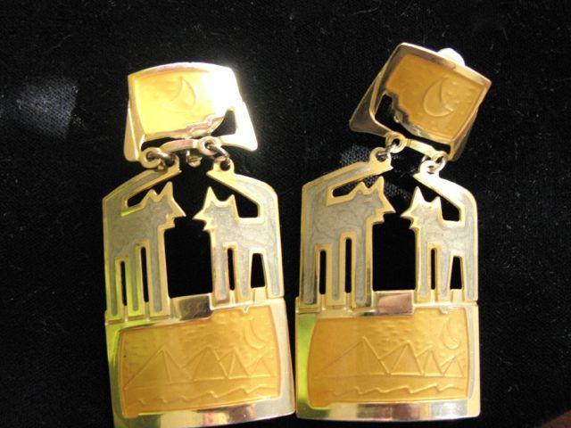 Vintage Edgar Berebi Egyptian Earrings Clips Moon Design Costume Jewelry Costumes