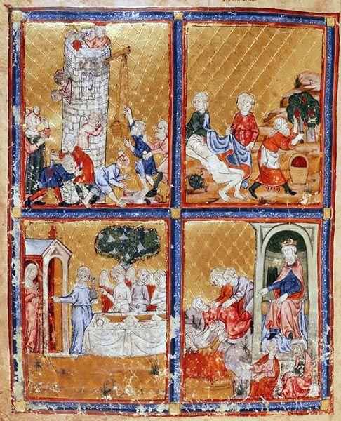 La construction de la tour de Babel et d'autres scènes de la Genèse avec Noé, Nimrod, Abraham et Sarah. Miniature de la « Golden Haggadah » réalisée vers 1320 en Catalogne (British Library Add. MS 27210). Parchemin, folio 3. Style gothique français. Londres, British Library.