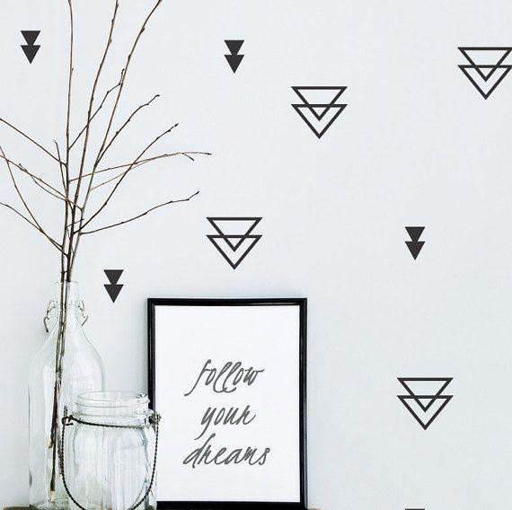 triangle wall decals triangle wall decal geometric wall on wall stickers stiker kamar tidur remaja id=18510