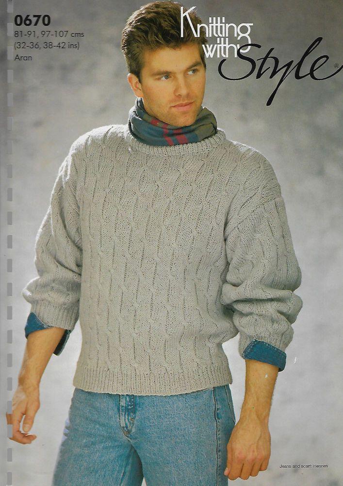 Mens Cable Rib Sweater Kws 670 Knitting Pattern 10 Ply Aran Yarn