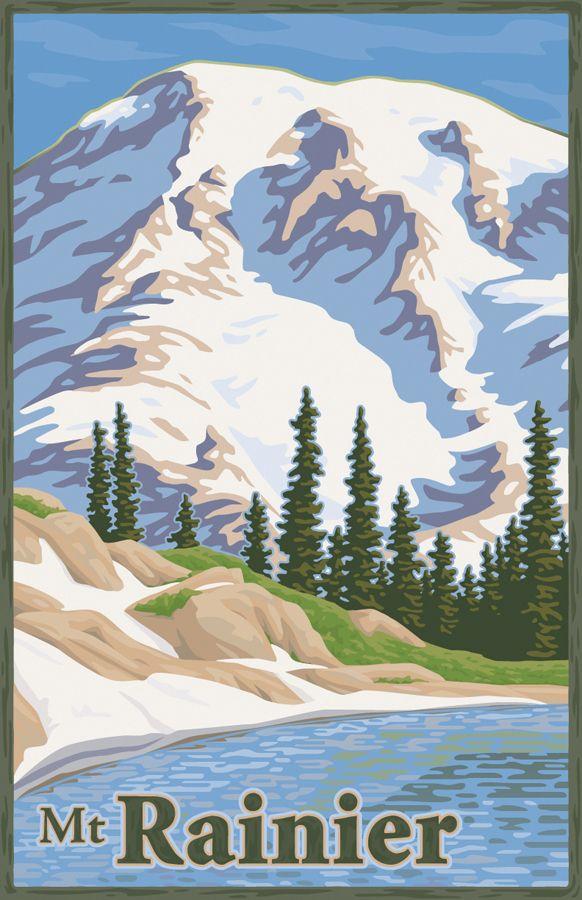 National Park Poster Travel Poster Nursery Travel Decor Tahoma Mount Rainier Washington State Minimal Art Mount Rainier National Park