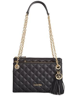 Calvin Klein Quilted Pebble Leather Triple Compartment Crossbody Pebbled Leather Calvin Klein Handbags Leather Crossbody