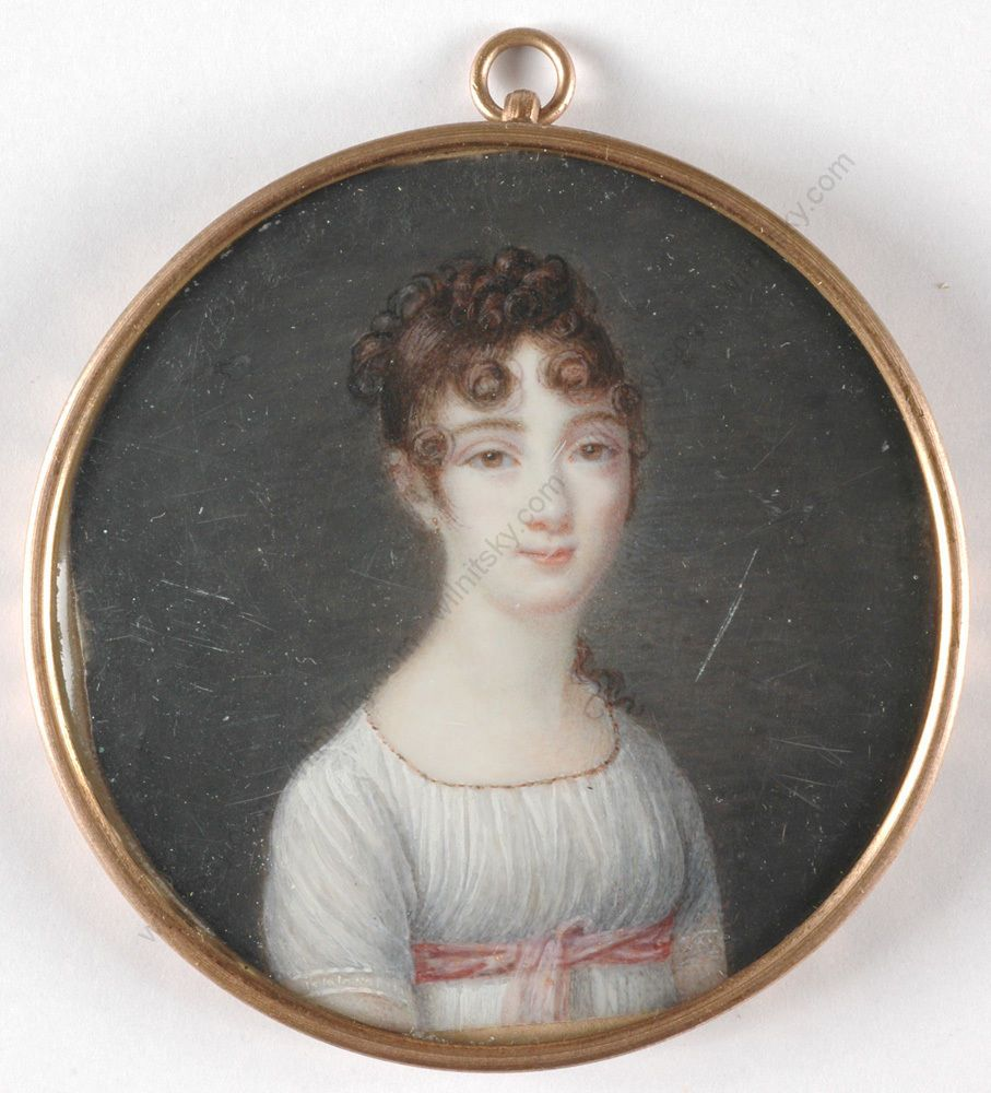 French School, Portrait of a lady in white empire dress, 1800/1810