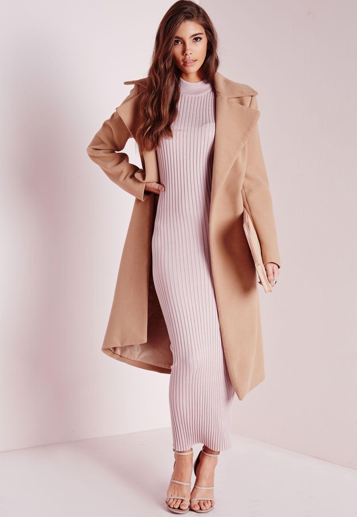 Maxi knitted rib dress pink maxi pinterest missguided jumper