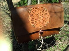 The Patrick Bag -- Leather messenger bag with Celtic Knot by pajtleather on Etsy