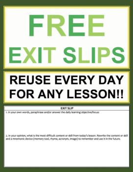 Exit Slips Template | Exit Slip Template Elementary Middle School Or High School Freebie