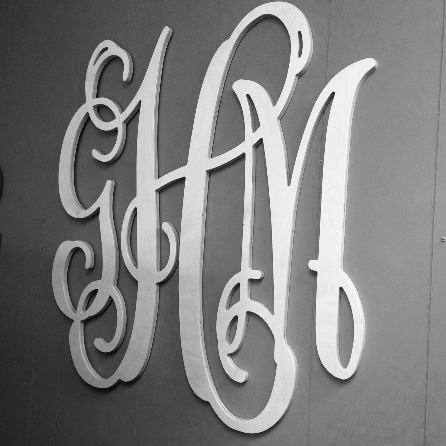 Large Wooden Monogram Extra Wall Letters 30 Wedding Guest Book