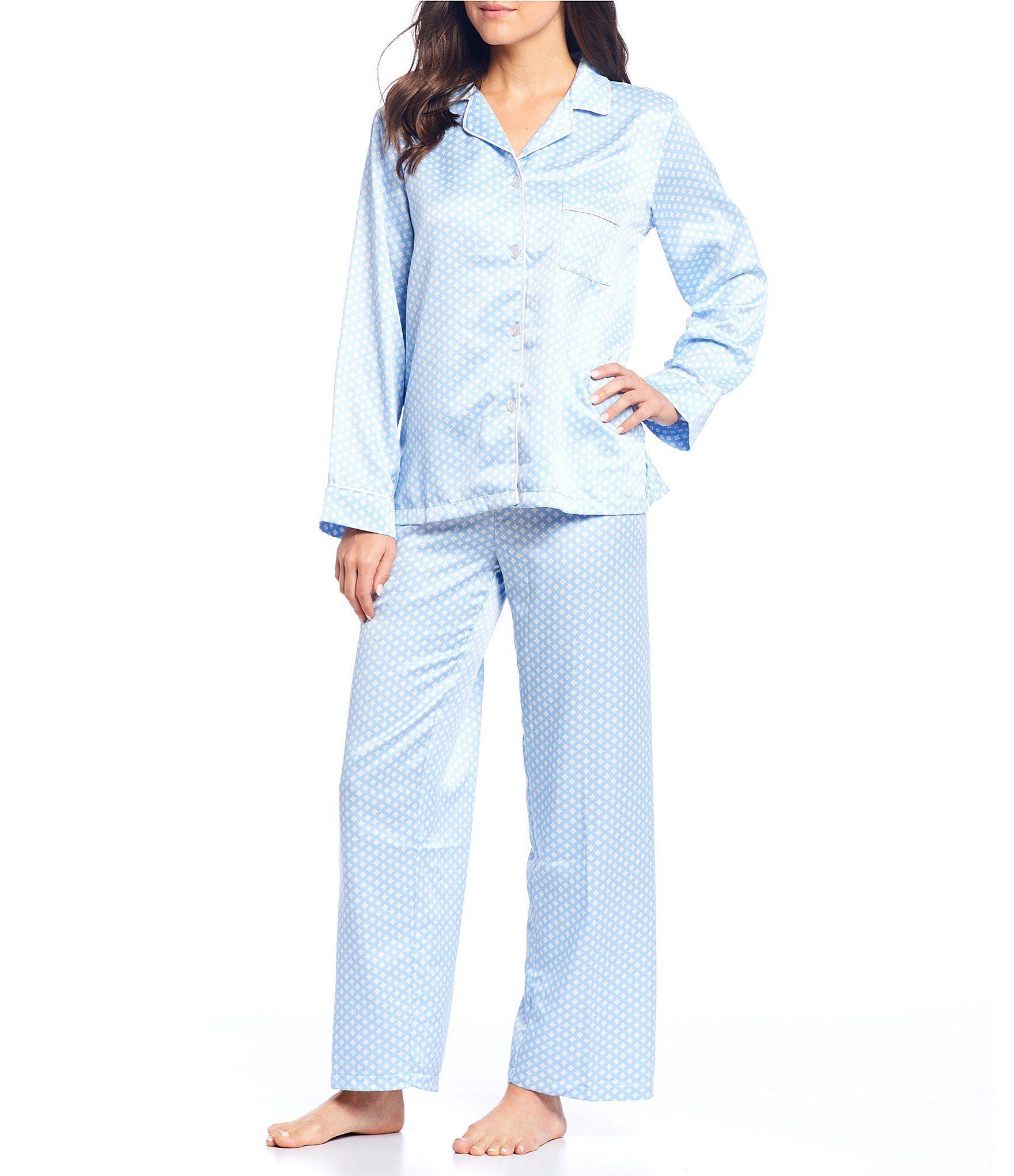 Miss Elaine Brushed Back Satin Foulard-Print Pajama Set - Blue/Multi XL