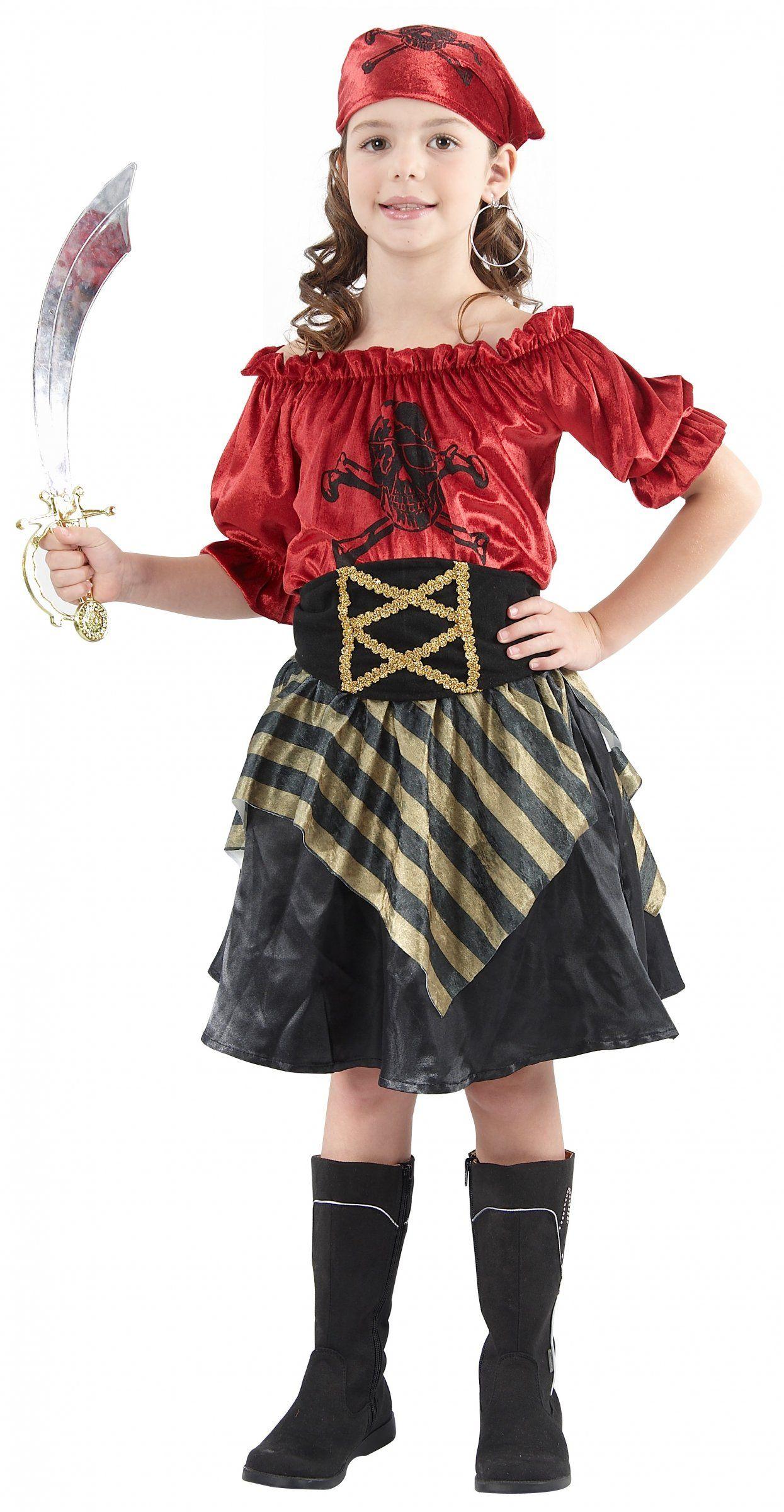 piraten kinderkost m f r m dchen schwarz rot goldfarben. Black Bedroom Furniture Sets. Home Design Ideas