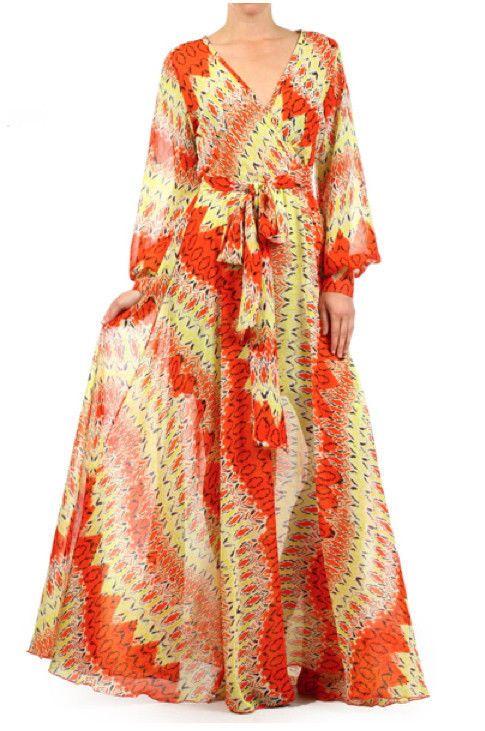 14f98f18343 ORANGE   YELLOW Print FULL SWEEP Chiffon MAXI DRESS Wrap SHEER Long Skirt  Vtg St  tamarstreasures  vintagestyledress  chiffonmaxi