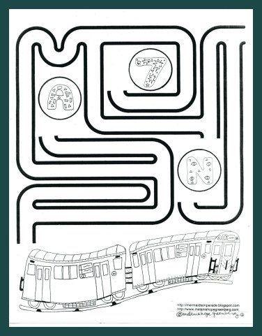 Subway Train Coloring Page And Maze Train Coloring Pages