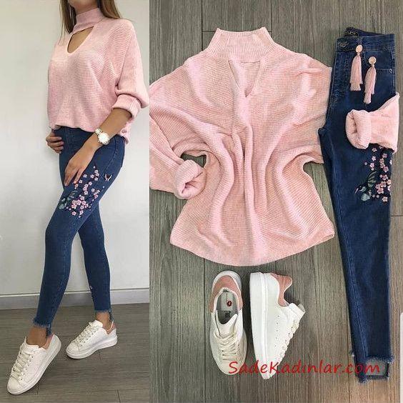 2019 combinaisons de baskets jeans skinny brodés bleu marine pull à col roulé rose baskets blanches   – Kombin