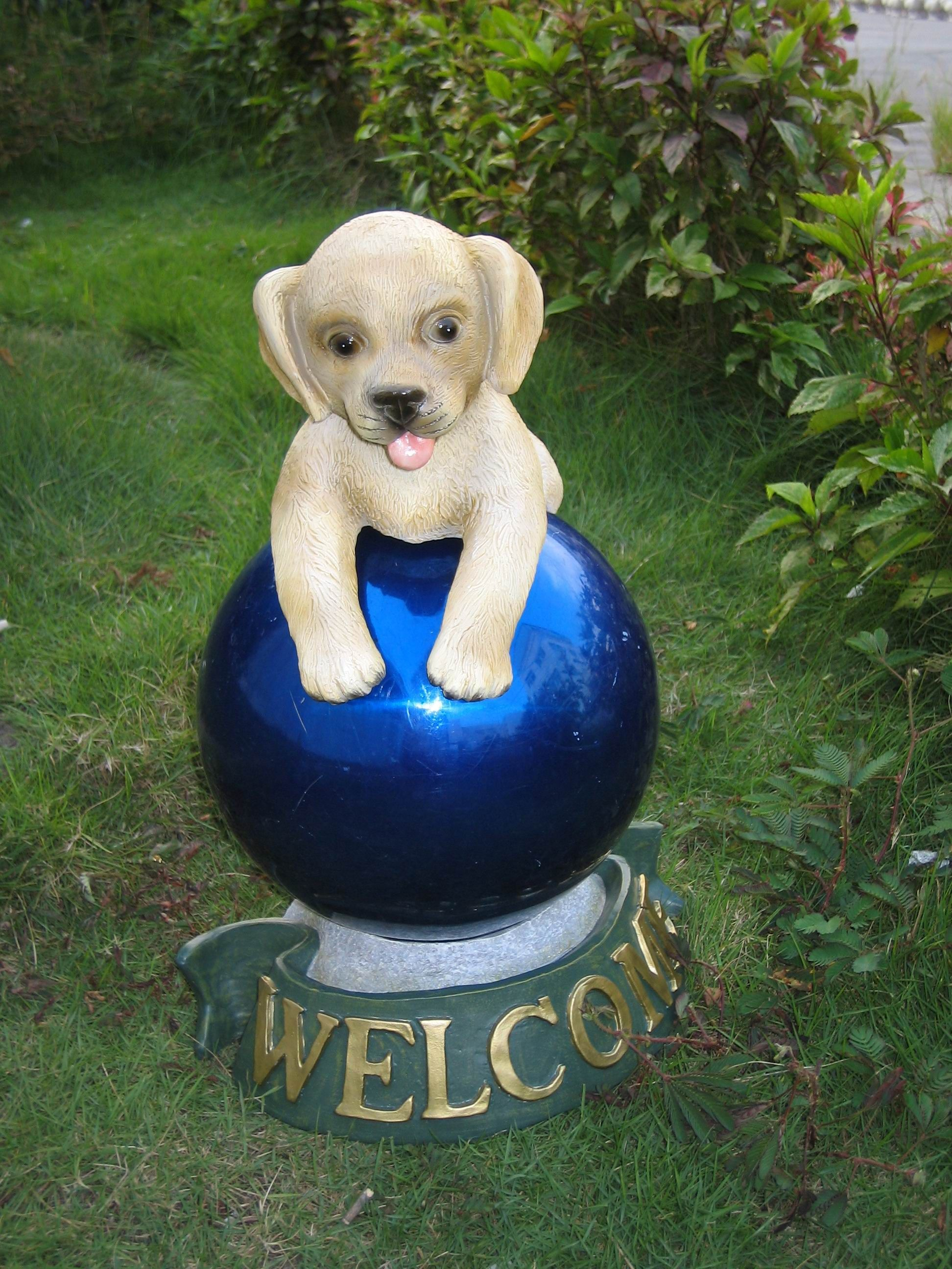 Dog Shape Stainless Steel Gazing Ball Stands