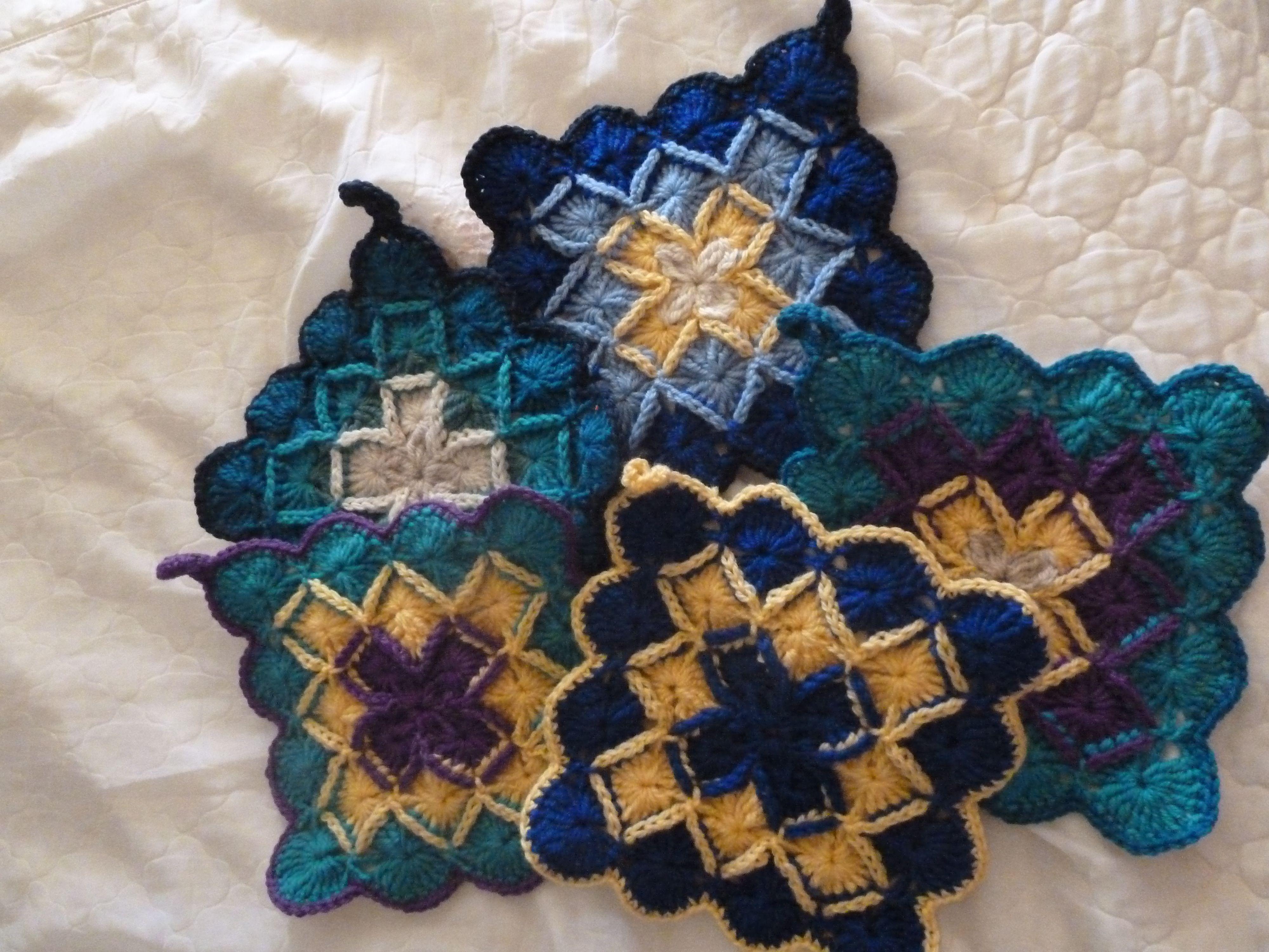 Crocheted pot holders in Bavarian crochet stitch by ...