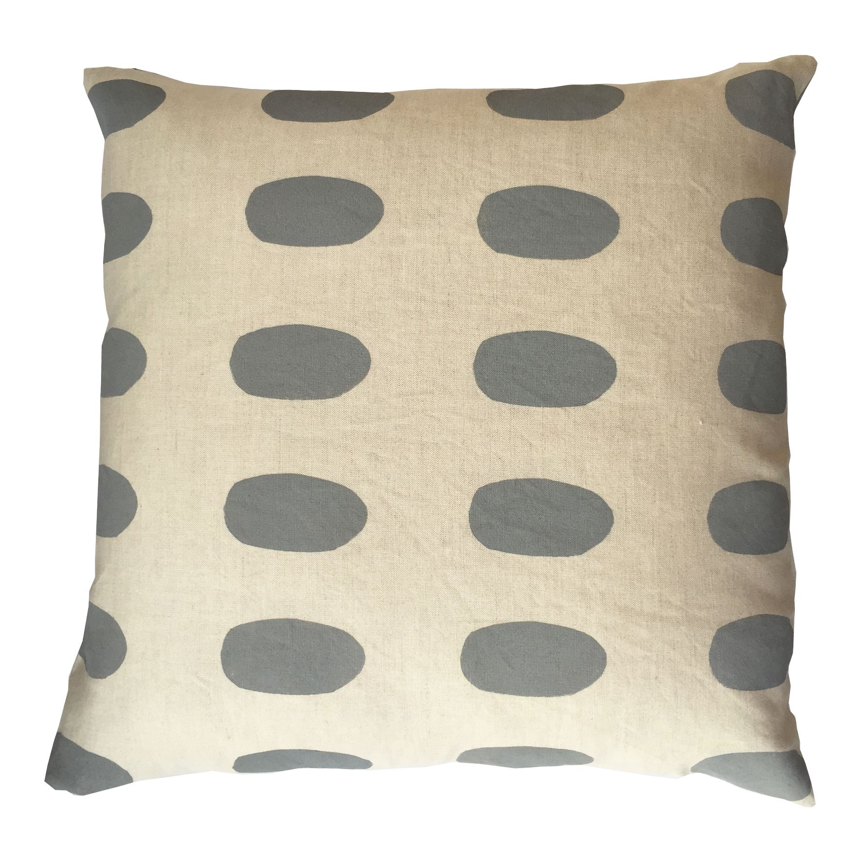 Limited edition oval print cushion cover hand printed design on