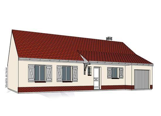 Modèle PC-14  Pavillon plain-pied avec garage comprenant cuisine, séjour, hall, salle de bains, WC, 4 chambres.  Surface Habitable : 96,01m²