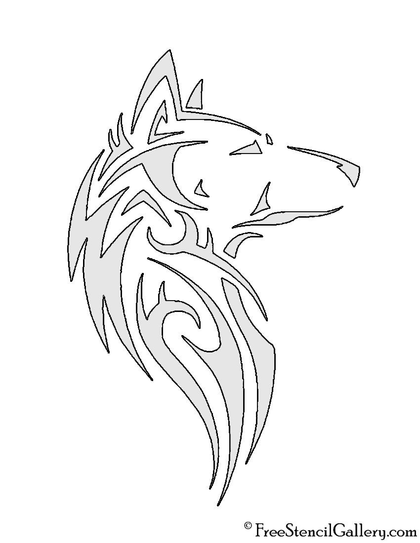 Wolf Tribal Stencil   Leather Working   Pinterest   Stenciling, Wolf ...