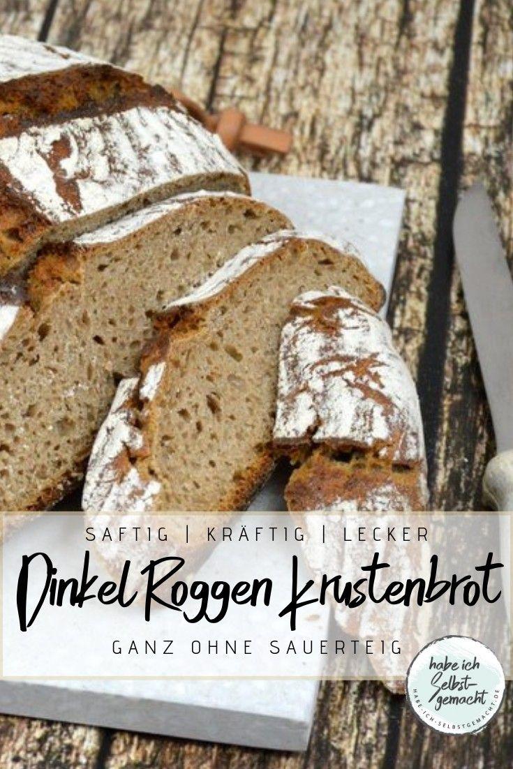 Brot #36 - Dinkel Roggen Krustenbrot ohne Sauerteig - Habe ich selbstgemacht
